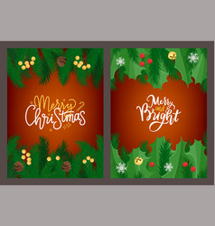 merry christmas lettering greeting card mistletoe vector image