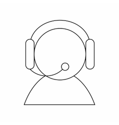 Operator with headset icon thin line style vector image