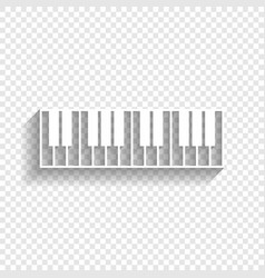 piano keyboard sign white icon with soft vector image