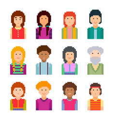 Pixel art style cartoon faces set vector