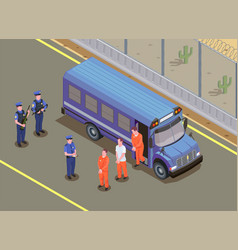 Prison jail isometric composition vector