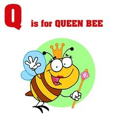 Queen Bee cartoon with letter vector