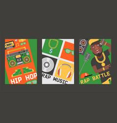 rap music dj playing disco on turntable vector image