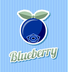 Retro blueberry with title on striped background vector