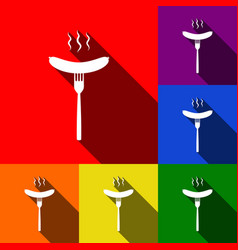 sausage on fork sign set of icons with vector image