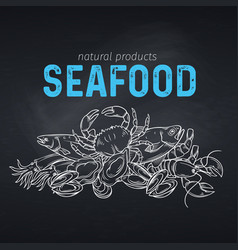 Seafood banner vector