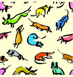 seamless pattern with doodle dachshund background vector image