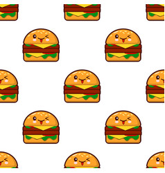 Seamless pattern with kawaii burger on white vector