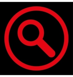 Search flat red color rounded icon vector image