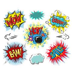 set of comic text pop art comic style vector image vector image