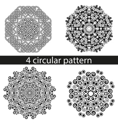 set of four decorative curls pattern mandala vector image