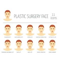 Set plastic surgery face icons flat design vector
