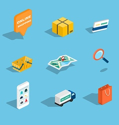 set sale and shopping flat 3d isometric icons vector image