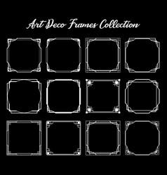 Set white art deco square ornament borders vector