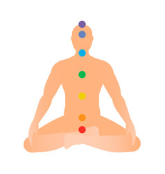 Silhouette of a man in lotus position with seven vector