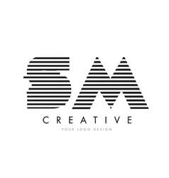 sm s m zebra letter logo design with black and vector image