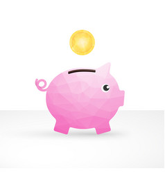 small pink pig as a money box and coin vector image
