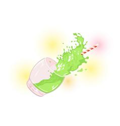 Splashes green beverage drink scattering from vector