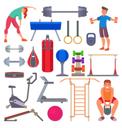 sport gym equipment flat style icons and vector image