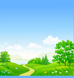 summer forest and sky background vector image