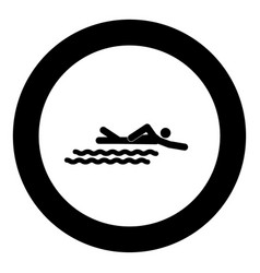 Swimming person stick icon black color in circle vector
