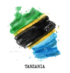 tanzania flag watercolor painting design country vector image