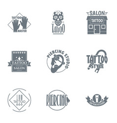 Tattooing logo set simple style vector