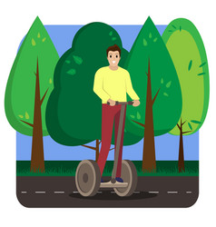 the man riding electric scooter in the park vector image