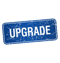 Upgrade blue square grunge textured isolated stamp vector