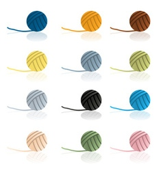 Various color balls of wool reflection eps10 vector