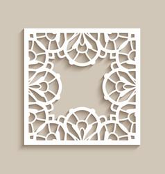 vintage square frame with ornate border pattern vector image