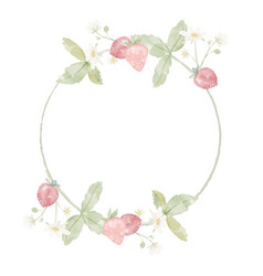 watercolor wild strawberry branch wreath frame vector image