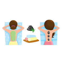 Woman getting stone massage and mud mask spa vector