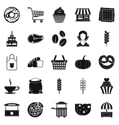 afternoon snack icons set simple style vector image vector image