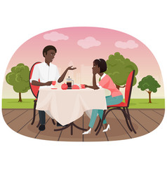 an african couple sitting in the cafe outside and vector image