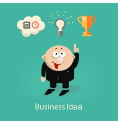 businessman and idea info graphic with gears hand vector image vector image