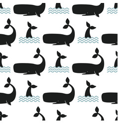 whale seamless pattern vector image