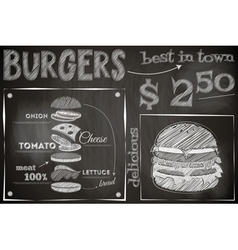 burger chalk vector image