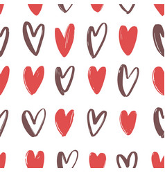 drawn hearts on white background backdrop with vector image vector image