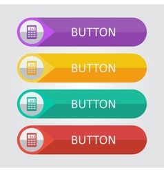 flat buttons with calculator icon vector image vector image