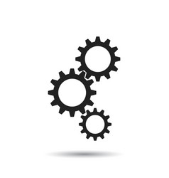 gear icon flat business sign symbol with shadow vector image