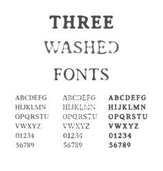 Three Handdrawn Fonts Washed Latin Alphabet Set vector image vector image
