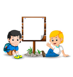 wooden sign on colorful park with children vector image