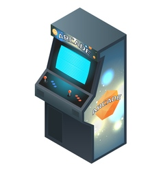 Arcade Game Cabinet with Glowing Screen Isometric vector image