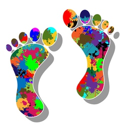 Colorful feet vector image vector image