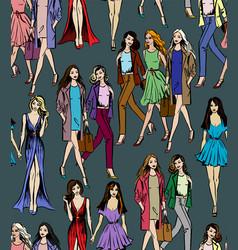 girlfriends walking vector image