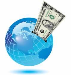 globe dollar background vector image vector image