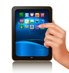 hand holding tablet computer vector image vector image