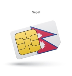 Nepal mobile phone sim card with flag vector image vector image