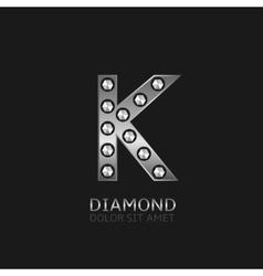 Silver K letter vector image